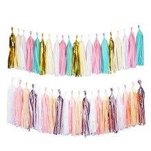 20Pcs Wedding Tissue Paper Tassel Garland Pink Blue Banner Party Decorations DIY for Birthday Baby Shower