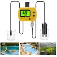 Portable Digital LCD Online pH TEMP Meter Acidimeter Aquarium Drinking Water Quality Monitor 0.01 PH Electrode Analyzer Backlit