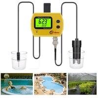 Portable Digital LCD Online pH TEMP Meter Acidimeter Aquarium Drinking Water Quality Monitor 0.01 PH Electrode Analyzer Backlit