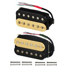 FLEOR Alnico 5 Humbucker Pickup Double Coil Electric Guitar Pickup Neck or Bridge Zebra Color