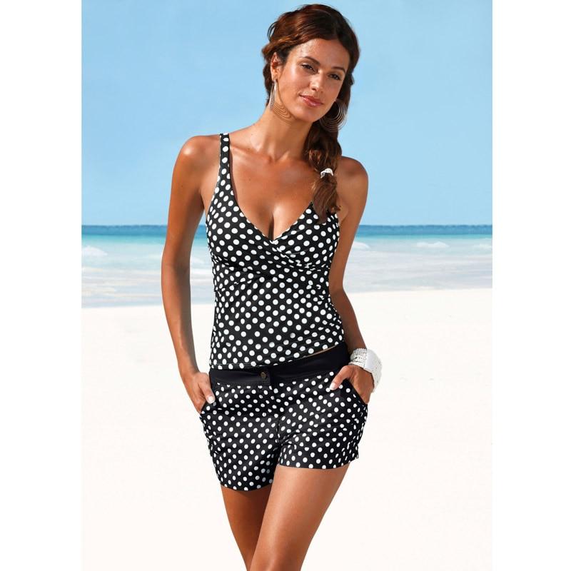 2018 Sexy Polka Dot Swimming Tops+Trunks Two Piece Swim Suits Lady Beach Swim Wear Bathing Suits Women Swimwear Tankini Set
