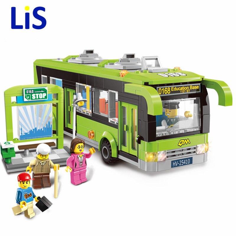Lis 418pcs Enlighten City Bus Station Building 1121 Block sets Kids Educational Bricks Toys blockset Compatible with lepin
