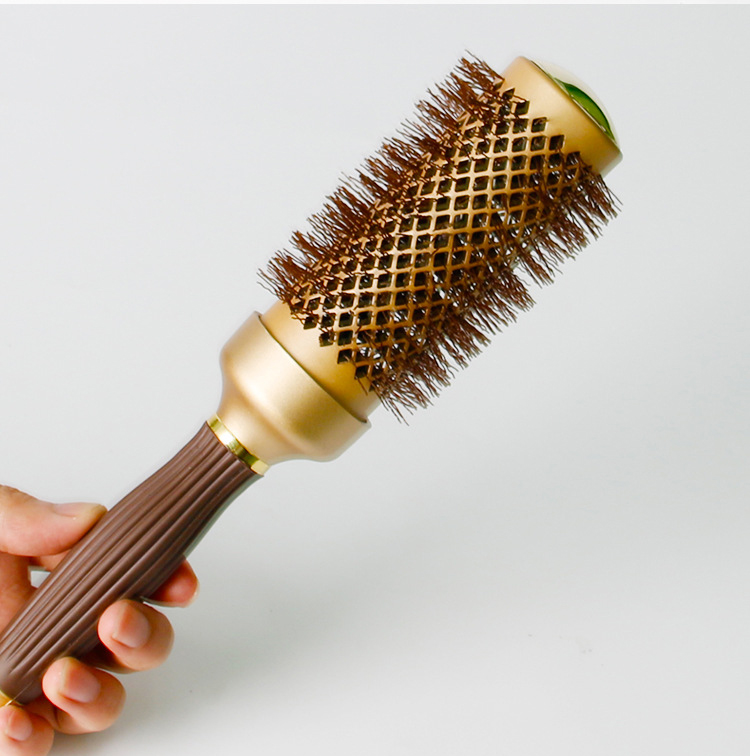 Купить с кэшбэком Mythus Professional Gold Hair Ceramic Brush Thermal Radial Hair Curly Round Brush Ionic Hairdressing Brush Comb In 4 Sizes