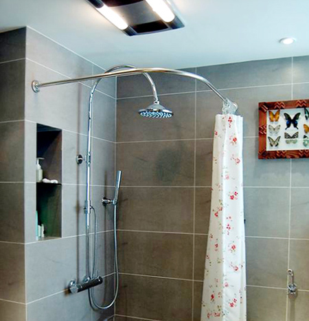 Customize stainless steel curved shower curtain rod retractable pole ...