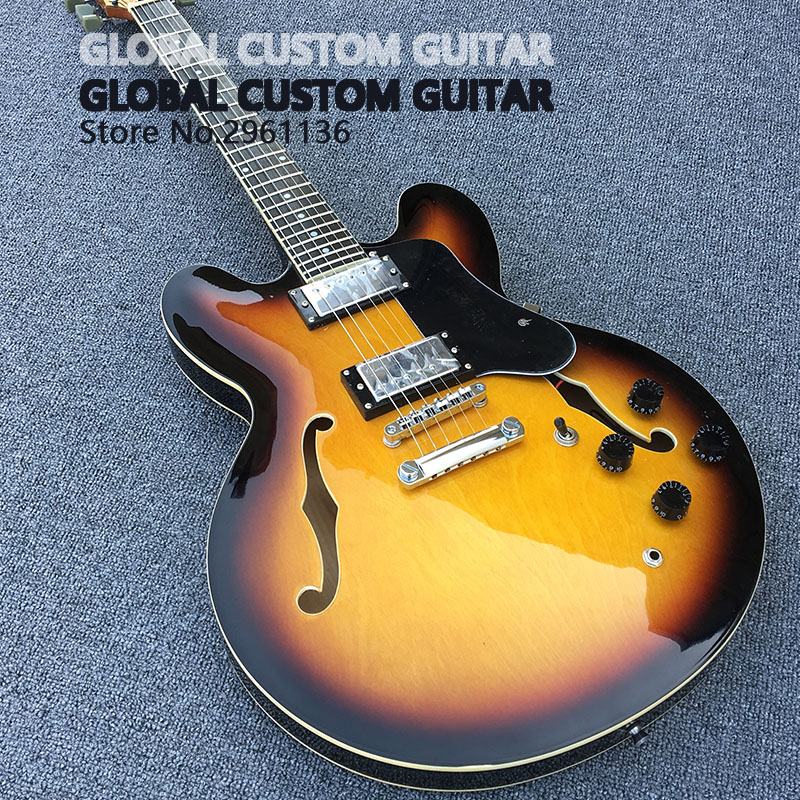 High quality ES 335 electric guitar, hollow body jazz electric guitar,Real photos,free shipping high quality tl guitar map panel transparent brown custom electric guitar 6 strings guitars real photos free shipping