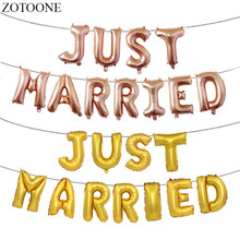 ZOTOONE Rose Gold Just Married Foil Balloons Letter for Muslim Islamic Party Weeding Decoration For Weddings Supplies