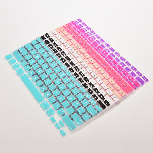 7 Candy Colors Silicone Keyboard Cover Sticker For Macbook Air 13 Pro 13 15 17 Protector Sticker Film