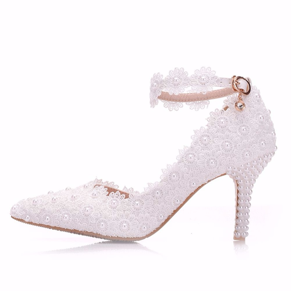 Queen White Lace Flower Wedding Shoes Slip On Pointed Toe Bridal Shoes High Heel Women Pumps Shallow Pointed Toe