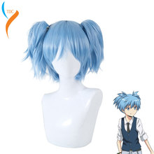 цена на Anime Sally Face Sallyface Sally Cosplay Wig Short Blue Heat Resistant Synthetic Hair Clip Ponytails Wigs + Wig Cap