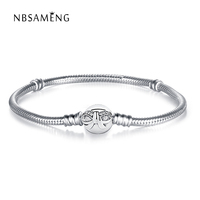 Authentic 925 Sterling Silver Original Bowknot Moments Silver Bangles Fit Pan Women Snake Chain Basic Bracelets