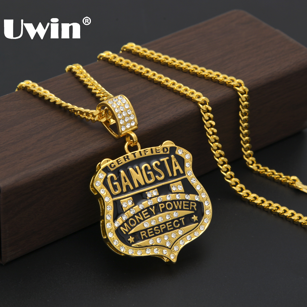 Hot Selling Hip hop Jewelry <font><b>GANGSTA</b></font> Medal Shield Rhinestones Badge Pendant Necklace Europe And The United States For Men image
