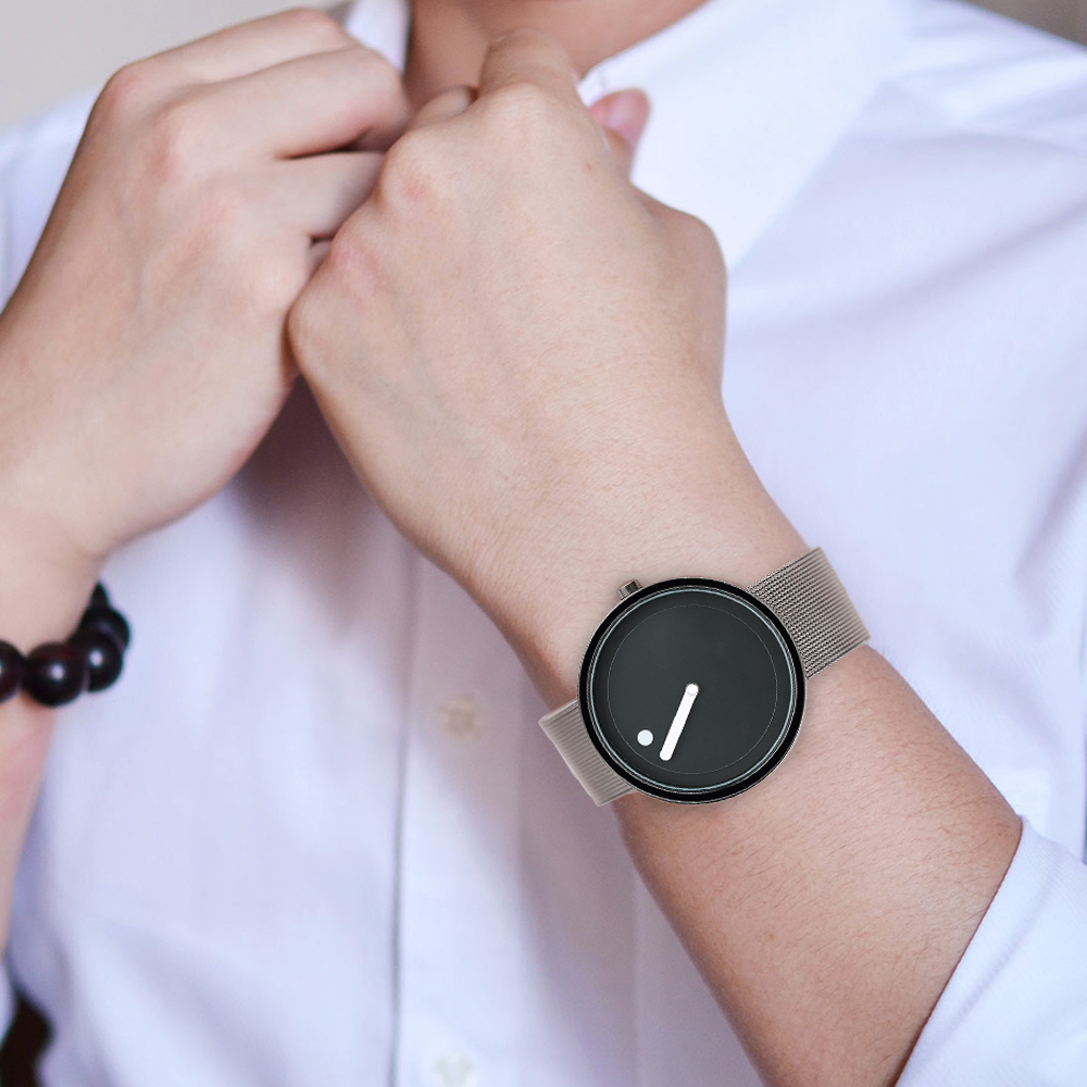 Trendy Modern Unisex Wrist Watch Quartz Women Fashion Stainless Steel Mesh Creative Dial Casual Stylish Mens Gift