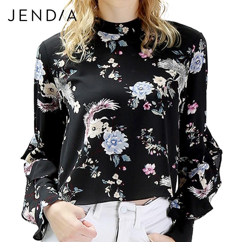 Newear Сладкий Винтаж Шифоновая Блузка Женщины Сложите свободные бабочки рукавом Элегантный пуловер с круглым вырезом рубашка