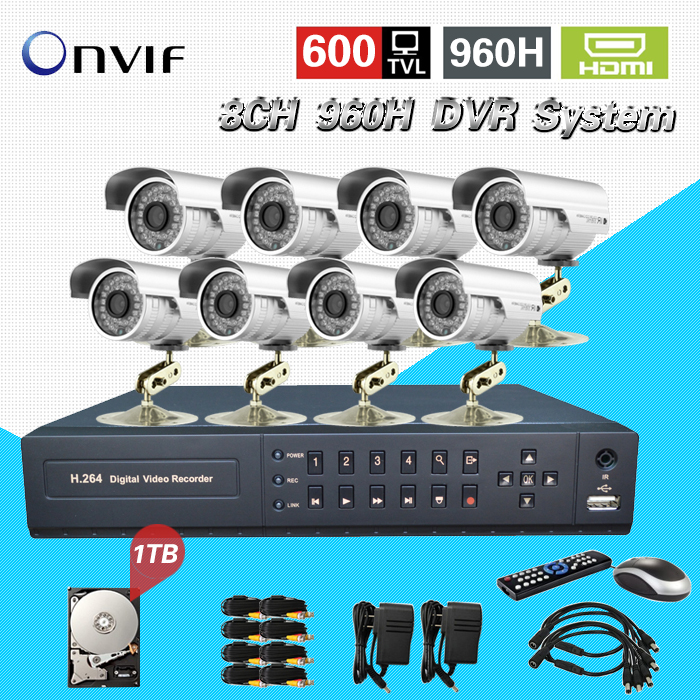 TEATE 8 Channel security video Surveillance CCTV outdoor Camera system 8ch 960h HDMI 1080p dvr nvr hvr Kit with HDD 1TB CK-245 cctv camera dvr system ahd 720p kit optional 2 3 4 channel cctv dvr hvr nvr 3 in 1 video recorder infrared dome camera security