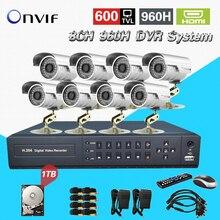 TEATE 8ch sistema de Câmera de 8 Canais de vídeo Vigilância CCTV segurança ao ar livre 960 h HDMI 1080 p dvr nvr hvr Kit com HDD 1 TB CK-245