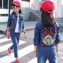 купить kids clothing Children's denim suit 2019 spring and autumn new girls  children's denim suit  kids clothes 4-14 girls clothes дешево