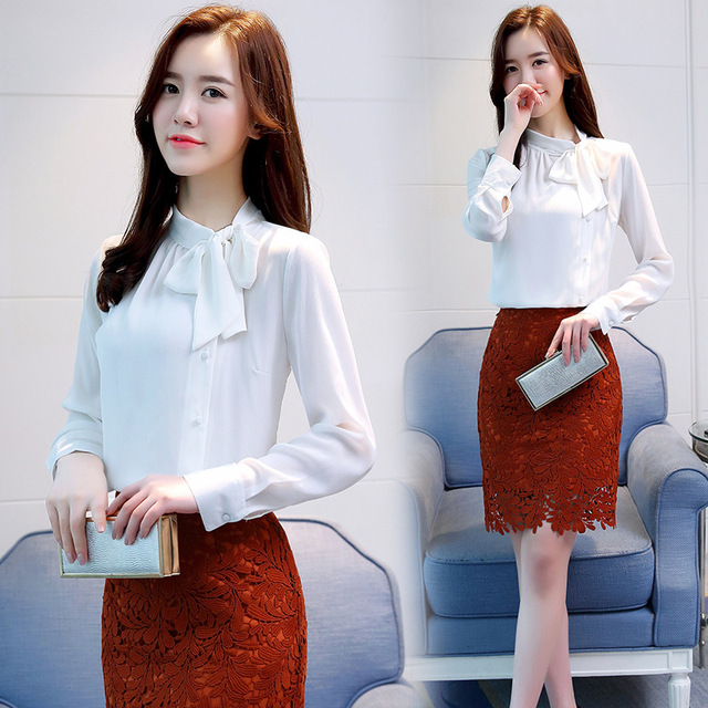 Women Chiffon Long Sleeve Blouses Feminine Bow OL Shirt New Elegant Chiffon Tops 4
