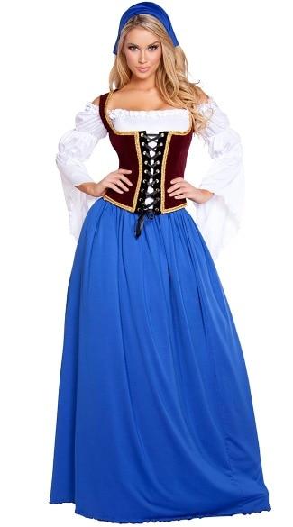 Women Traditional German Oktoberfest Beer Costume Girl Maid Uniform Bavarian Carnival Party Fancy Dress