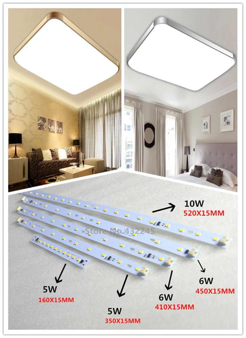 Free shipping 60 pieces 5W 6W 10W Bar Aluminum Plate no need driver LED SMD5730 PCB for Square Ceiling Light. 220V directly .