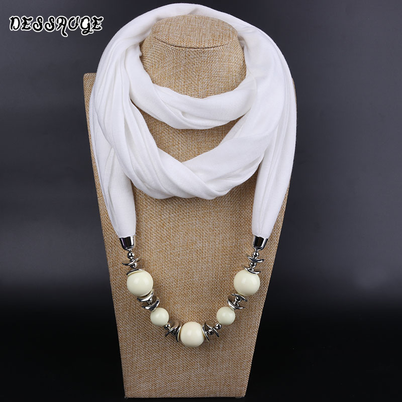 DESSAUGE Charm Hijab Scarf Autumn Necklace Chunky Scarf Jewelry Scarf Pendant Ethnic Necklace Resin Beads Bohemian Necklace Gift spike tassel scarf necklace pendants scarves autumn women necklace scarf charm bohemian jewelry gift