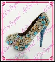 Aidocrystal luxus königsblau kristall Neue ankunft Handgefertigte high heel schuhe frauen ferse für hochzeit