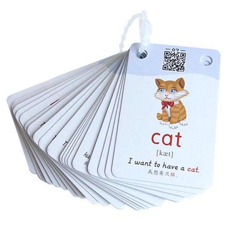 1200 mots début d'apprentissage carte photo chinois anglais Flashcards mot carte enfants jeux éducatifs jouets pour enfants Montessori - 3