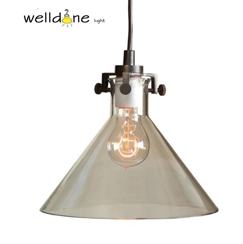 Vintage lighting E27 American country kitchen clear funnel hand blown glass Transparent shade MERIDIAN PENDANT LAMPVintage lighting E27 American country kitchen clear funnel hand blown glass Transparent shade MERIDIAN PENDANT LAMP