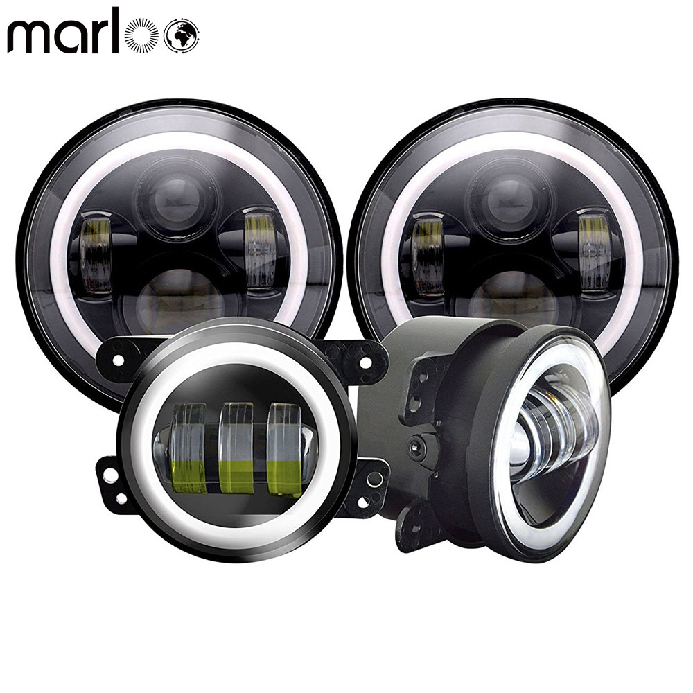 Marloo Wrangler 7 Inch Led Headlight White DRL Yellow Turn Signal With 4 Inch Project White Halo Front Bumper Fog Light For Jeep 2pcs car led headlight kit led bulb d33 h11 free canbus auto led lamps white headlamp with yellow light fog light for citroen c4