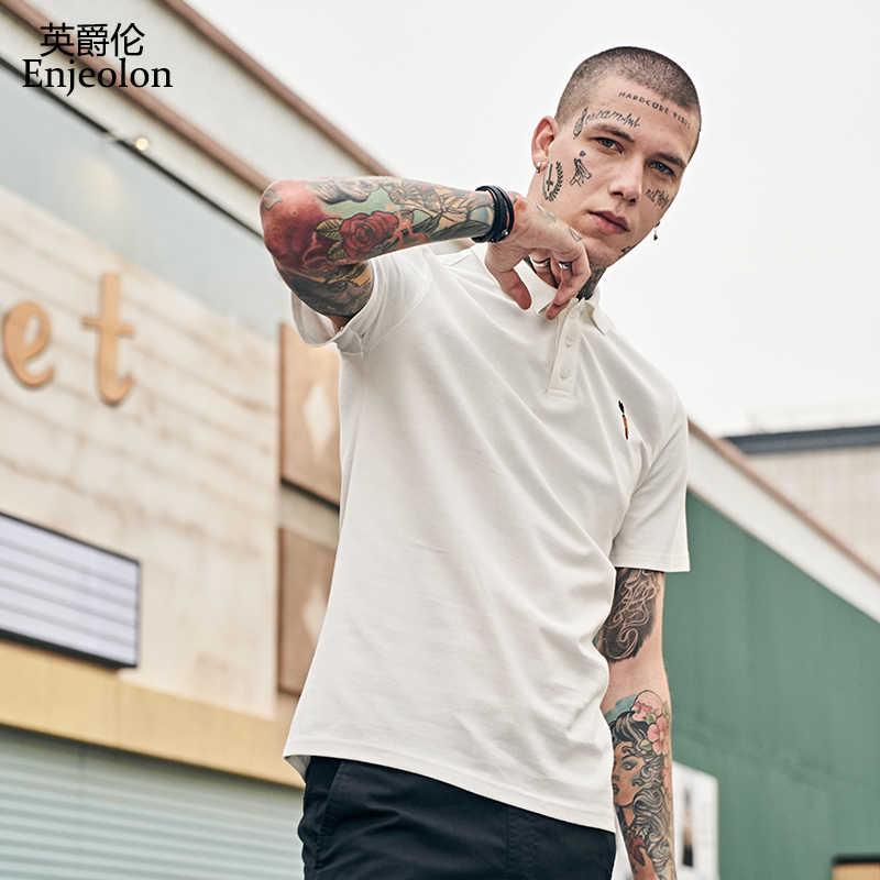 Enjeolon ブランド新ファッションポロシャツの綿の Tシャツ半袖夏のファッション男性服ブラック男性 T8980
