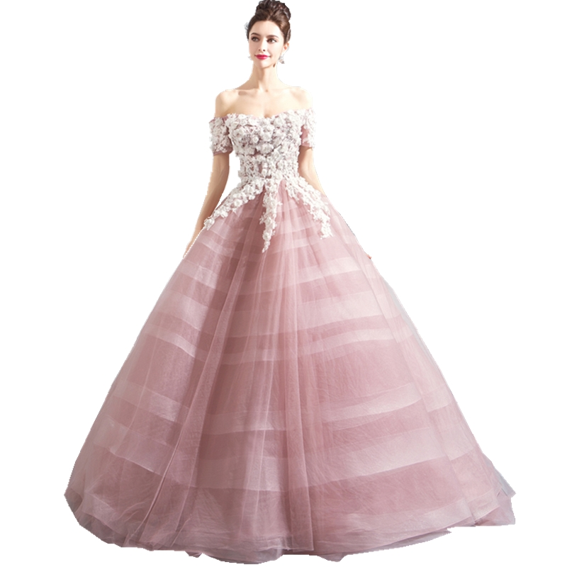 ruthshen New Charming 3D Handmade Flowers Prom Dresses Off The Shoulder Sleeves Ball Gown Party Dress