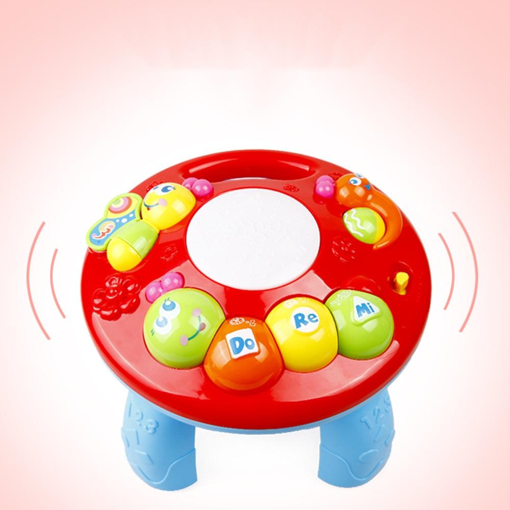Гусеничный обучающий стол Музыкальный обучающий стол пластиковые цвета Электрический светодиодный культивировать интерес Sing Song Study