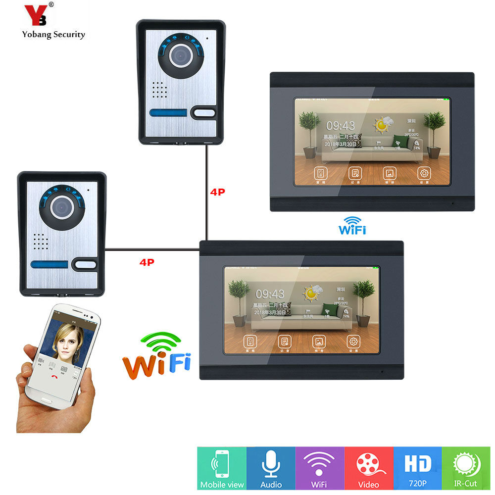 Yobang Security new 7 inch 2 Monitors Wired /Wireless Wifi Video Door Phone Doorbell Intercom System with 2 Camera Night Vision 1v3 doorbell camera 2 4ghz video wireless videocitofono video door phone with 3 indoor monitors for door access security