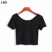 2017 New Women Best Sell U neck Sexy Crop Top Ladies Short Sleeve T Shirt Tee Short T-shirt Basic Stretch T-shirts(China)