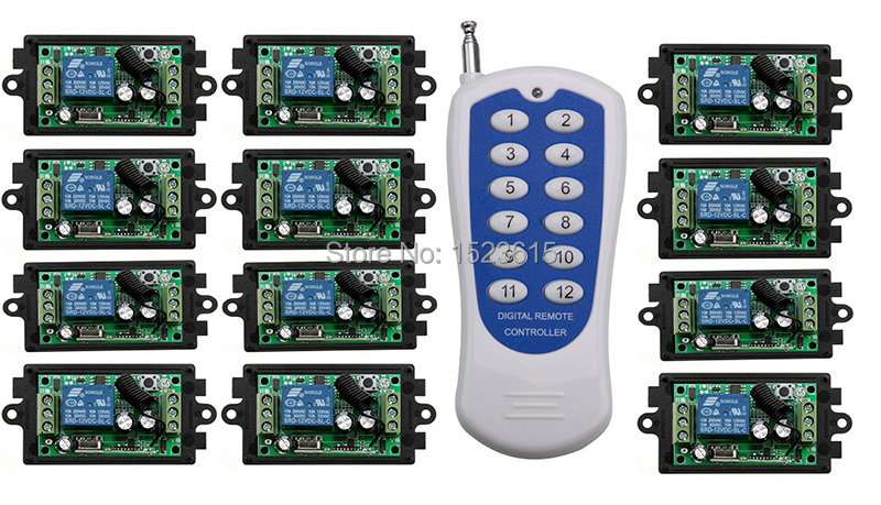 DC12V 1CH 10A RF Wireless Remote Control Switch System teleswitch 12CH transmitter&12 receiver relay Receiver Smart Home Switch купить