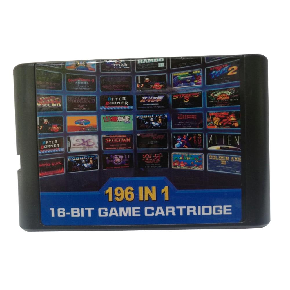 For Sega for MD 196 in 1 Game card/Cartridge 16 bit MD Game Card For Sega Genesis