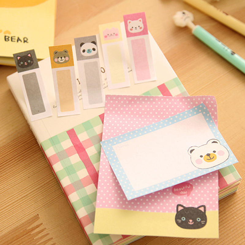 NNRTS Cartoon animals foldable memo pad post it paper sticker cute stationery sticky notes office school supplies