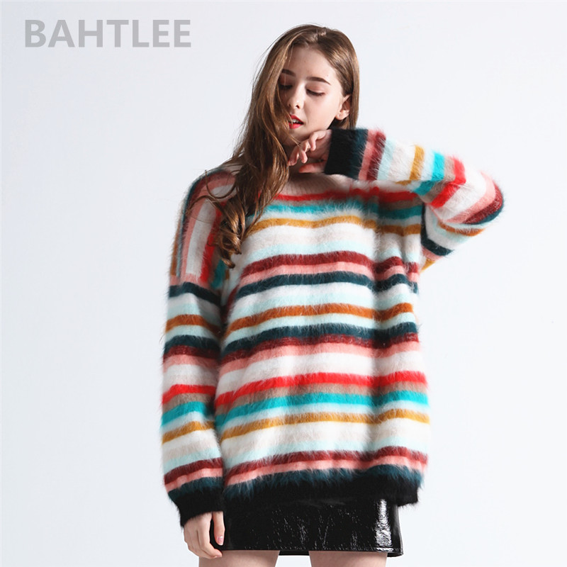 BAHTLEE Autumn Winter Women Angora Rabbit Rainbow Patter Knitted Pullovers Casual Long Sleeves Sweater O-NECK Keep Warm Loosefir