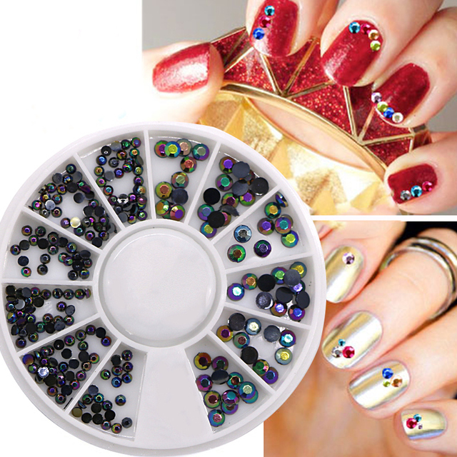 5pcs Round Wheel Glitter Rhinestones Acrylic Nail Crystal Art Decorations Manicure Gel Polish