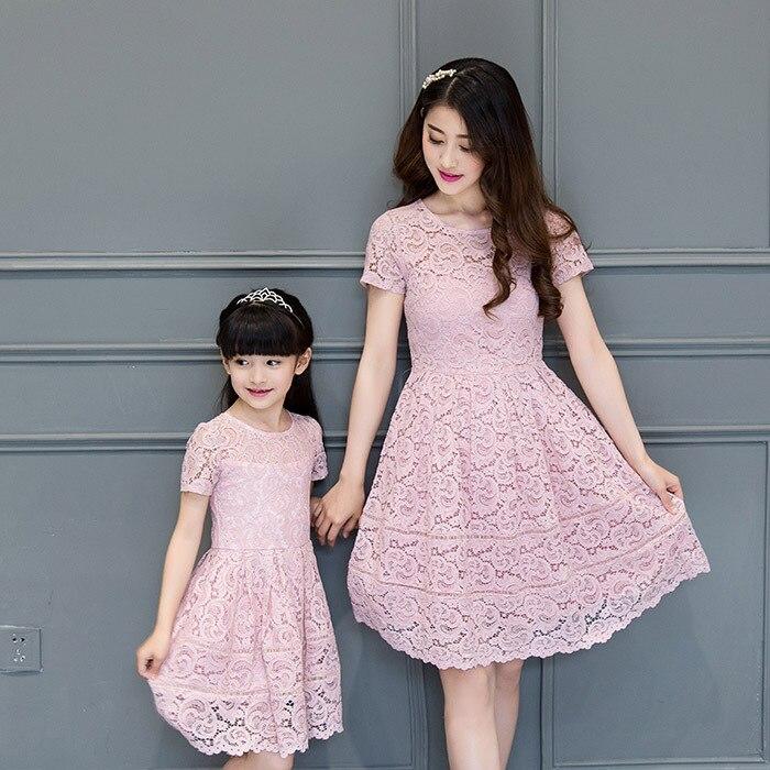 2130417e1418 2016 Nuevo verano coreano moda vestido de encaje familia niña ropa ...