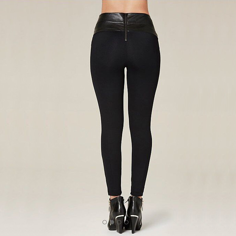 Nouveau Style femmes hiver pantalon 2018 mode PU cuir Slim taille haute moulante crayon Leggings noir Bandage pantalon Skinny pantalon - 3