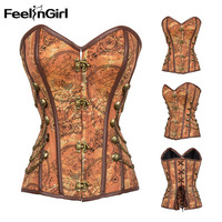 FeelinGirl Bandage Steampunk Corset Sexy brown Women Corselet Plus Size Gothic Corset and Bustier Overbust Strapless Corset E