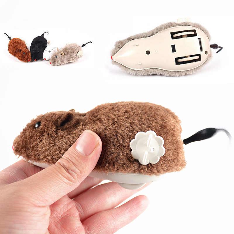 New Manual Funny Plush Mouse Toy Cat Dog Clockwork Spring Power Playing Toy Mechanical Motion Rat Pet Accessories Random Color