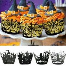 12 pçs/set Abóbora de Halloween fundido lPattern Lace Laser Cut Cupcake Wrapper Liner Baking Copa do Muffin Para O Casamento da Festa de Aniversário