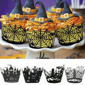Image 1 - 12PCS/Set Halloween Pumpkin cast lPattern Lace Laser Cut Cupcake Wrapper Liner Baking Cup Muffin For Wedding Birthday Party