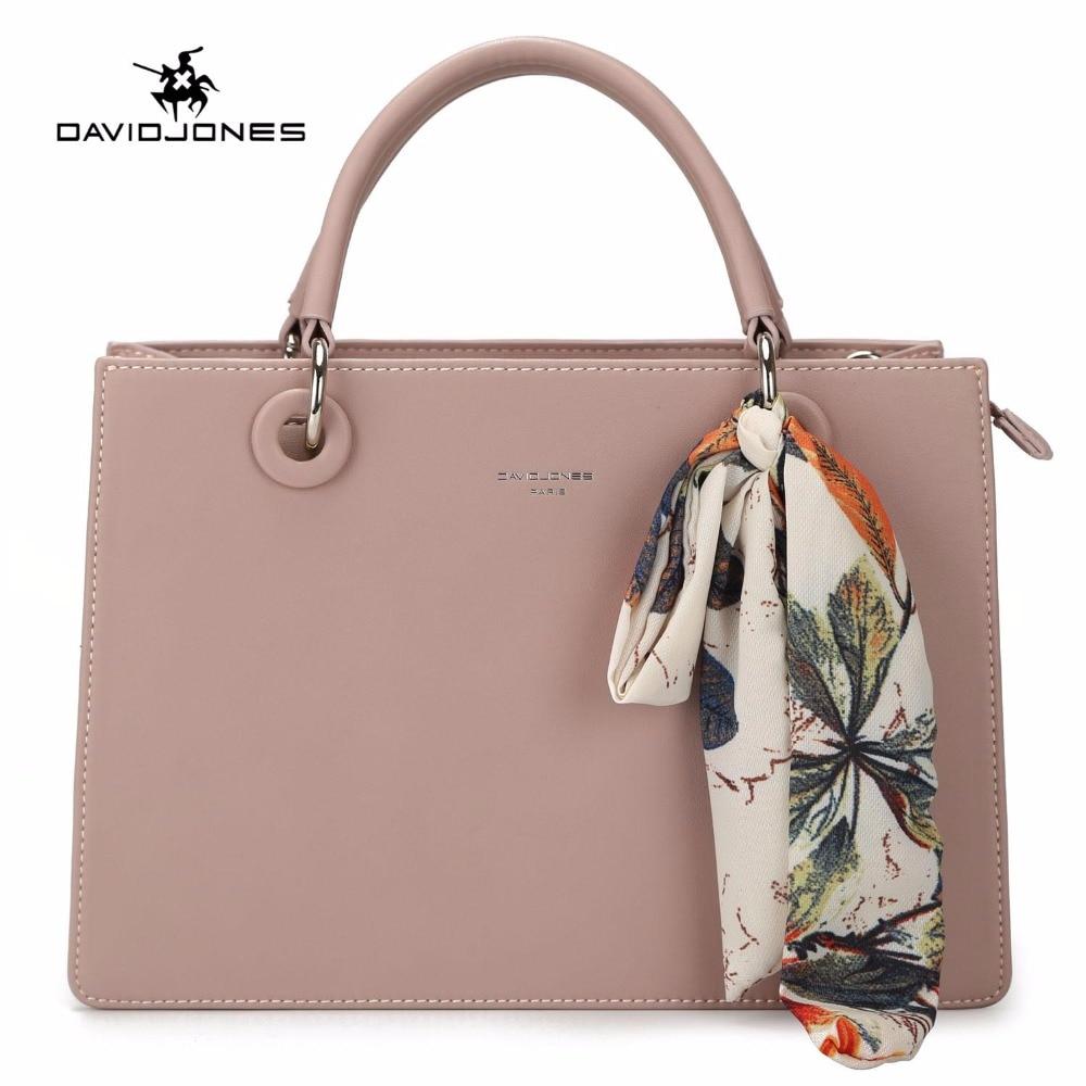 DAVIDJONES 女性のハンドバッグフェイクレザー女性のメッセンジャーバッグ大女性 scarve トートバッグの女の子ブランドショルダーバッグドロップシッピング  グループ上の スーツケース & バッグ からの トップハンドルバッグ の中 1