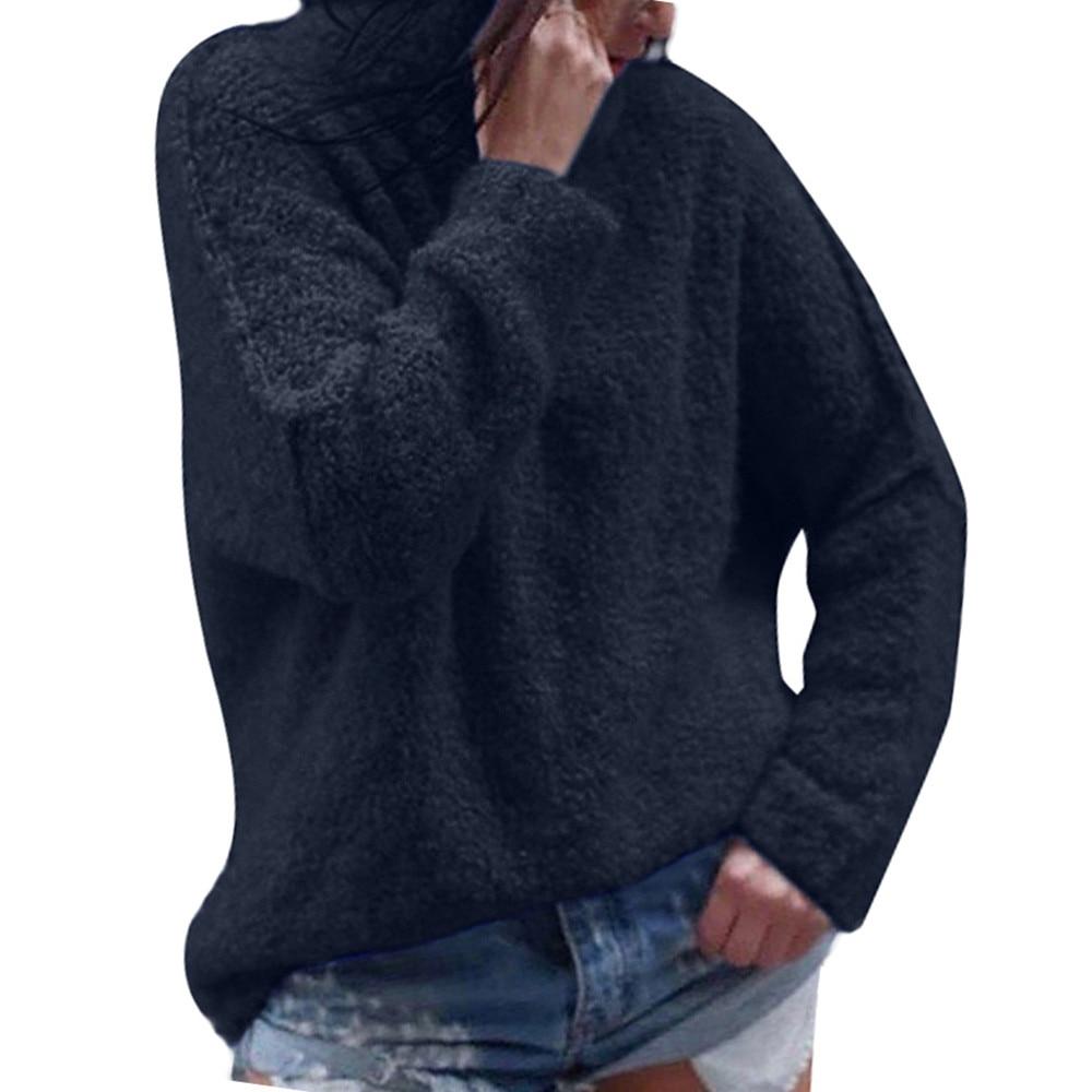 Sweaters women winter 2018 jumper sweater women casual autumn long sleeve plus warm plush turtleneck tops blouse female