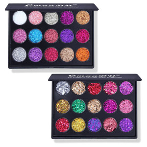 Image 2 - 15 Colors Glitter Eyeshadow Diamond Rainbow Make Up Cosmetic Pressed Glitters Eye shadow Magnet Palette Makeup Set for Beauty