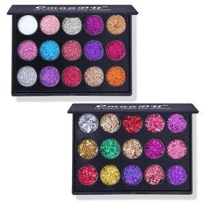 Image 2 - 15 farben Glitter Lidschatten Diamant Regenbogen Machen Up Kosmetische Gedrückt Glitters lidschatten Magnet Palette Make Up Set für Schönheit