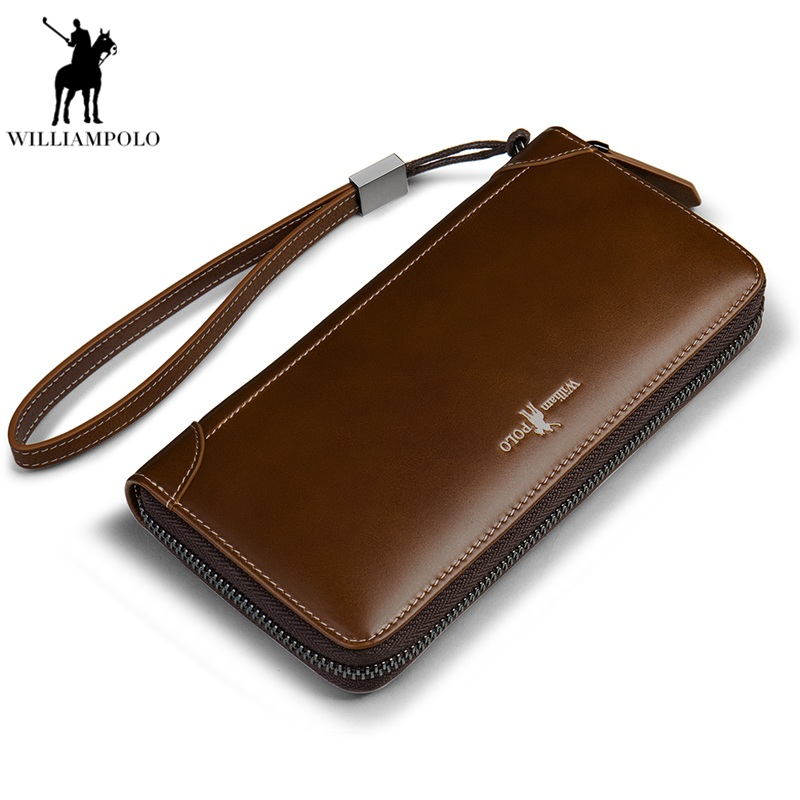 New Genuine Leather Men Wallets Man Famous Long Portomonee With Coin Zipper Clutch Bags Male Purses Card Holder Walet PL171326