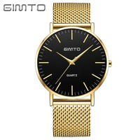 GIMTO Brand 2017 Luxury Men Gold Watch Black Ultra Thin Classic Stainless Steel Casual Business Male